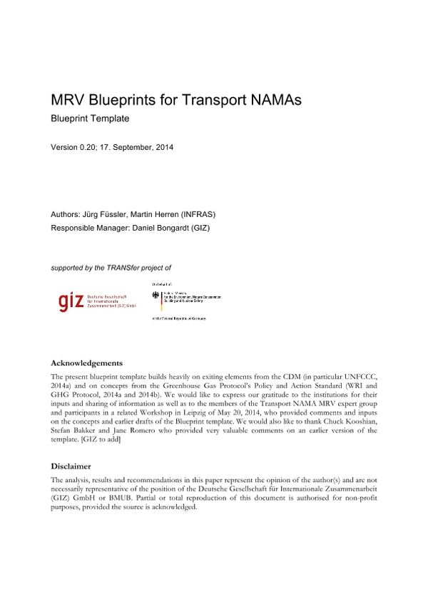 mrv blueprints for transport namas changing transport